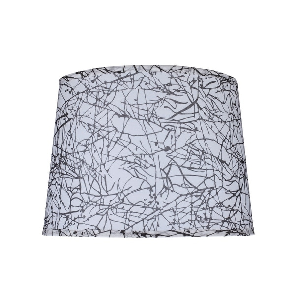 "Aspen Creative Hardback Empire Shape Spider Construction Lamp Shade in Black & White (12"" x 14"" x 10""). Opens flyout."