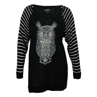Style & Co Women's Owl-Print Striped-Sleeve Blouse