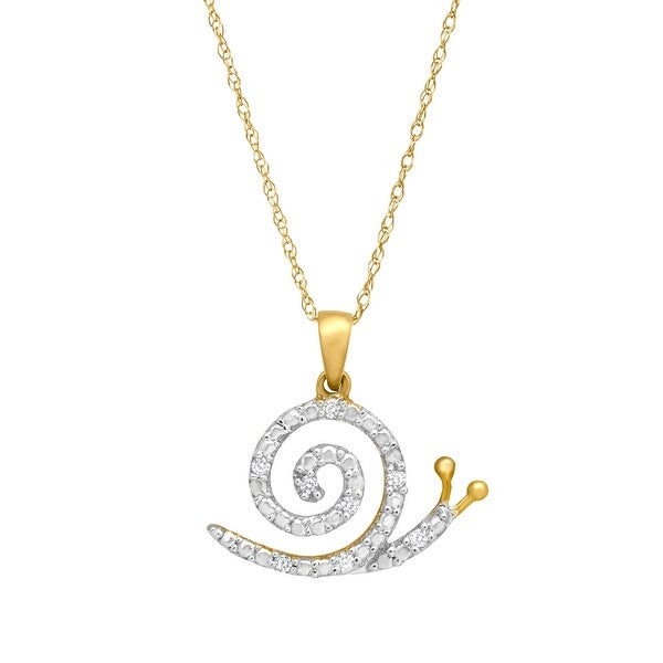 Snail Pendant with Diamonds in 10K Gold