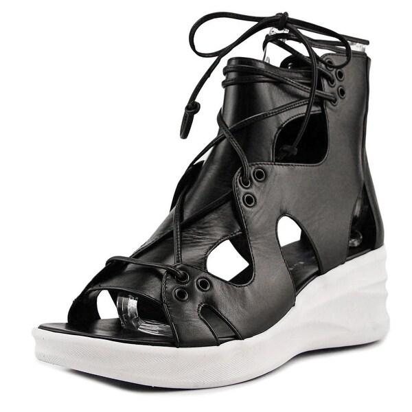 Elie Tahari Street Women Open Toe Leather Black Wedge Sandal