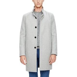 Theory Belvin WP Voedar Wool Blend Flannel Car Coat Light Grey Heather Medium M