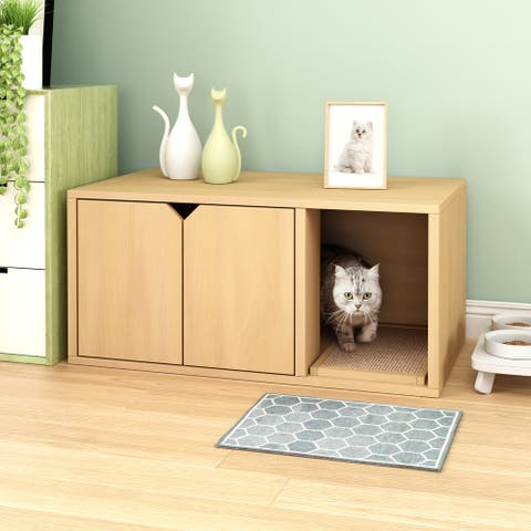 Way Basics Eco Cat Litter Box Enclosure Modern Cat Furniture, Natural