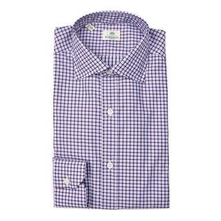 Borrelli Mens Navy Red Check Print Button Down Shirts - S