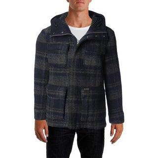 Woolrich Mens Wool Blend Plaid Coat - S