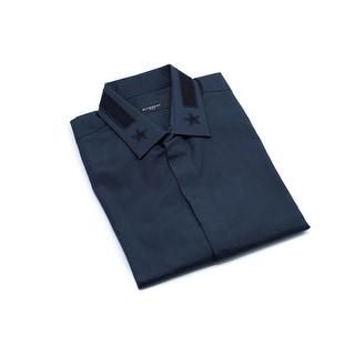 Givenchy Mens Navy Star & Stripe Collar Button Down