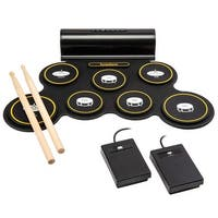 Ivation Portable Electronic Drum Pad - Digital Roll-Up Touch Sensitive Drum Practice Kit
