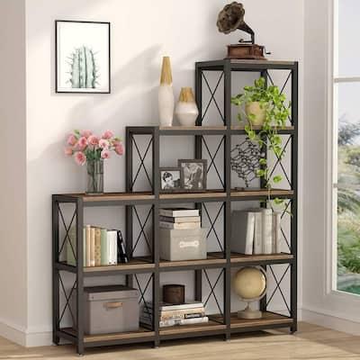12 Shelves Ladder Bookshelf, Industrial Corner Bookshelf