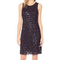 Jessica Howard Purple Sequin Scallop Women's Size 16 Sheath Dress