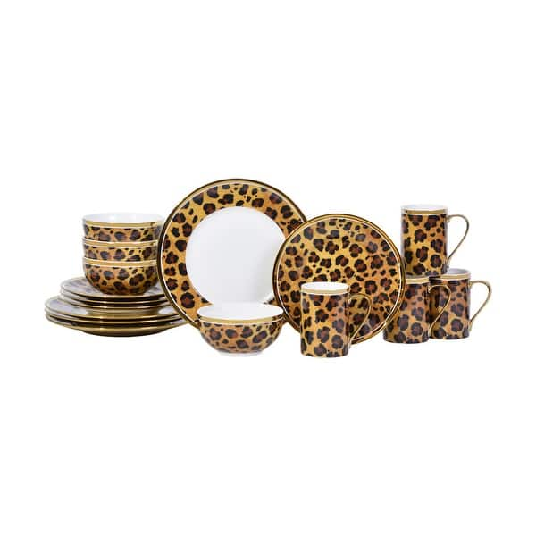 Serengeti Leopard With Electropated Gold 16 Piece Dinnerware Set Overstock 31434582