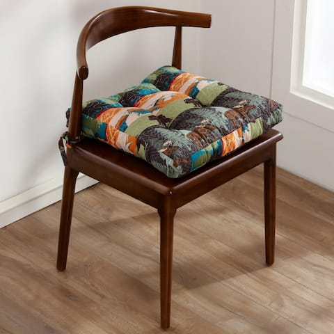 Greenland Home Fashions Black Bear Lodge Triple Layered Chair Pad - 18 inches x 18 inches