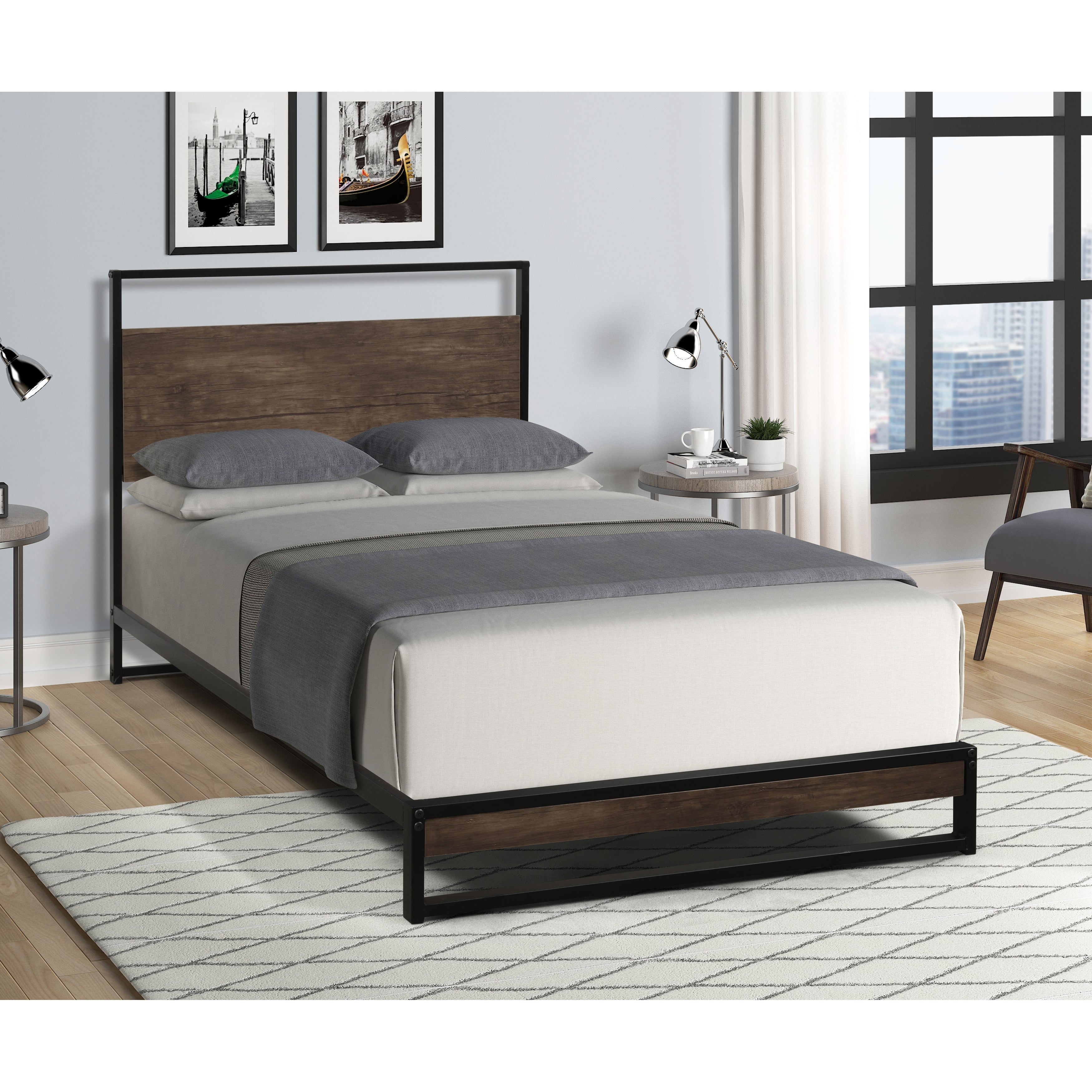 Metal Bed Frame With Wood Slats On Sale Overstock 32687055