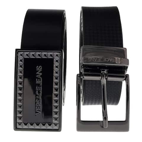 b49f38be2e7 Versace ED8YSBF17 EMI8 Black Adjustable-2 Buckle Leather Belt - 38