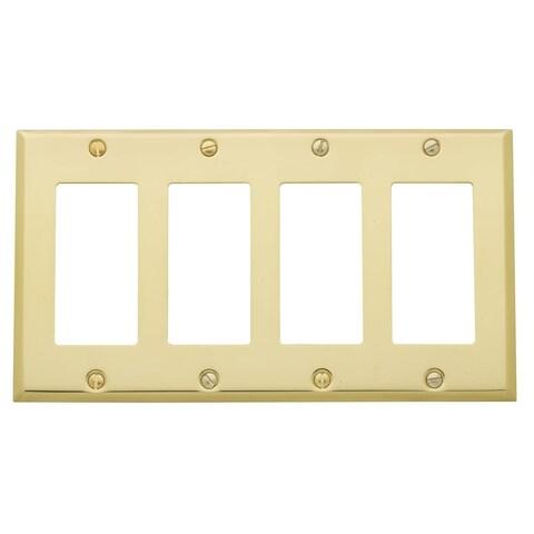 Baldwin 4742 Beveled Edge Solid Brass Quad Rocker GFCI Switchplate - N/A