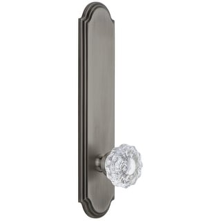 Grandeur ARCVER_TP_PRV_234_RH  Arc Solid Brass Tall Plate Rose Right Handed Privacy Door Knob Set with Versailles Crystal Knob