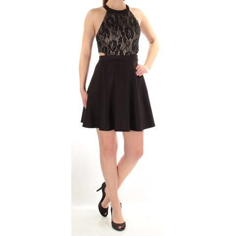 Womens Black Sleeveless Mini Fit + Flare Cocktail Dress Size: 0