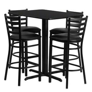 Offex 24''W x 42''L Rectangular Black Laminate Table Set with Ladder Back Metal Bar Stool and Black Vinyl Seat