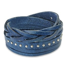 Blue Multi Strap Braided and Studded Cuff Leather Bracelet (Sold Ind.) (17 mm) - 7.5 in