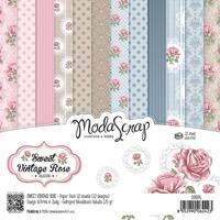 """Elizabeth Craft Modascrap Paper Pack 6""""X6"""" 12/Pkg-Sweet Vintage Rose"""