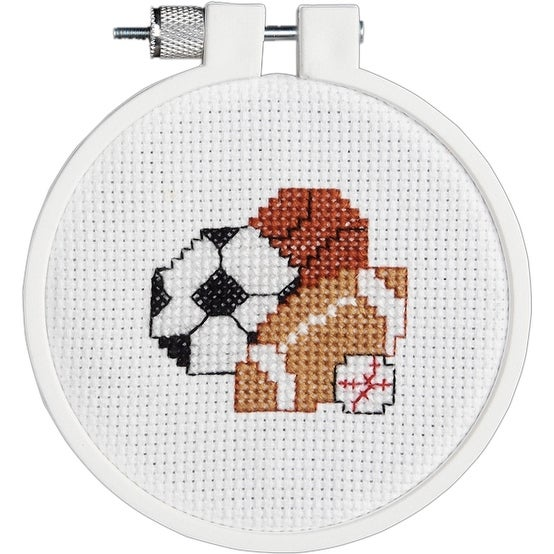 "Kid Stitch Play Ball Mini Counted Cross Stitch Kit-3"" Round 14 Count"