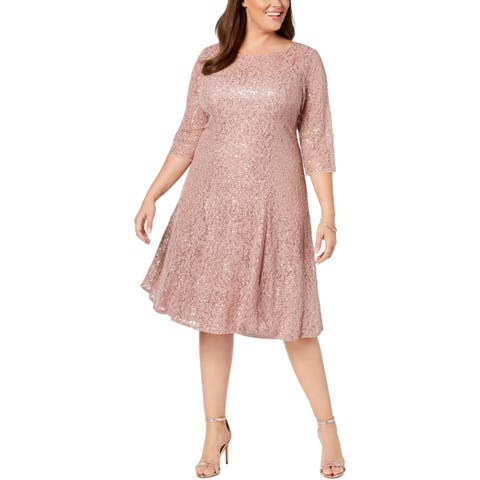 SLNY Womens Plus Cocktail Dress Sequined Lace
