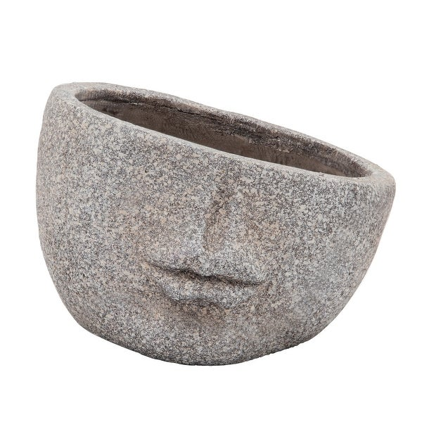 """Resin, 8"""" Half Face Planter, Gray. Opens flyout."""