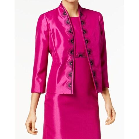 Kasper Black Womens Open-Front Embroidered Jacket