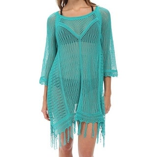 L Space NEW Green Turquoise Women's Size Medium M Cover-Up Sheer Swimwear