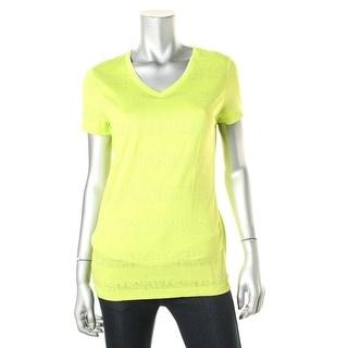Spalding Womens Shadow Stripe V-Neck T-Shirt - M