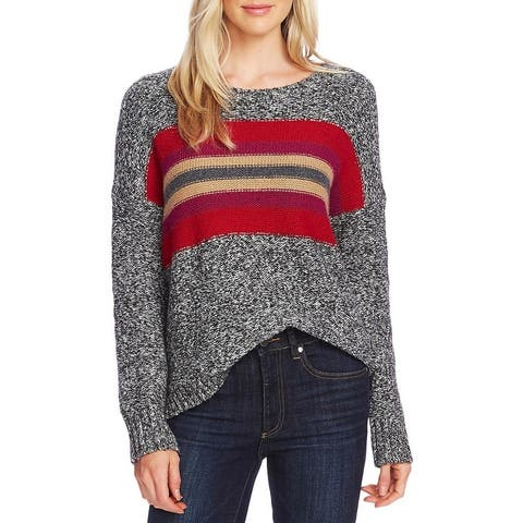 Vince Camuto Womens Sweater Colorblock Striped - Tulip Red