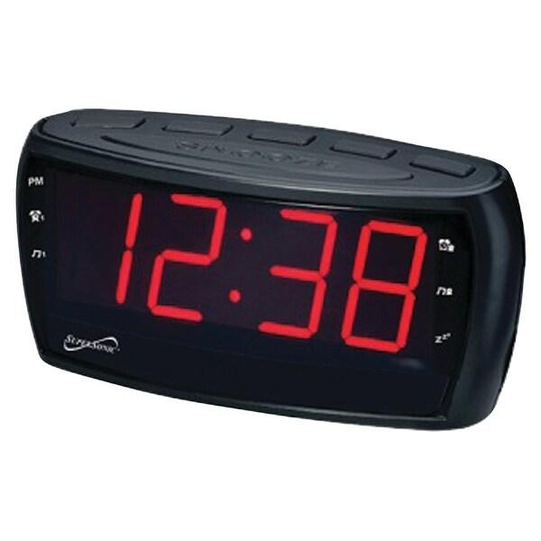 Supersonic sc-379 digital am/fm dual alarm clock radio with jumbo digital display. Opens flyout.