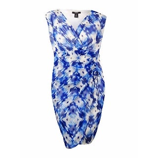 Alfani Women's V-Neck Ruched Faux Wrap Mesh Dress - blurred ikat