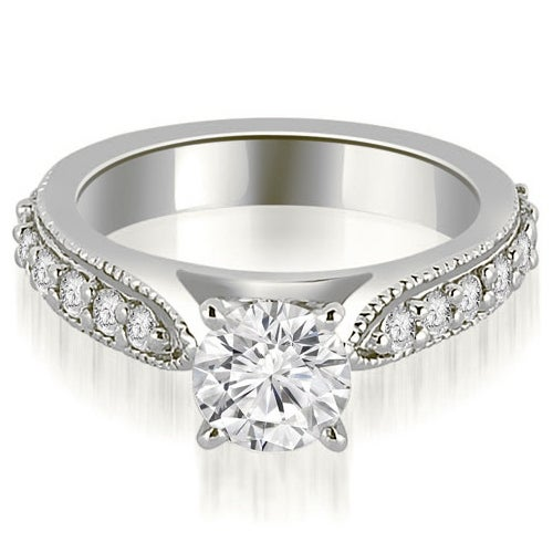 1.20 cttw. 14K White Gold Cathedral Round Cut Eternity Diamond Engagement Ring