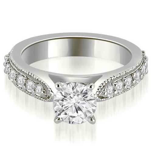 1.45 cttw. 14K White Gold Cathedral Round Cut Eternity Diamond Engagement Ring