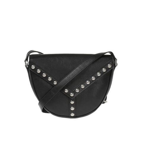 Saint Laurent YSL Black Y Studded Besace Saddle Crossbody Bag 439143