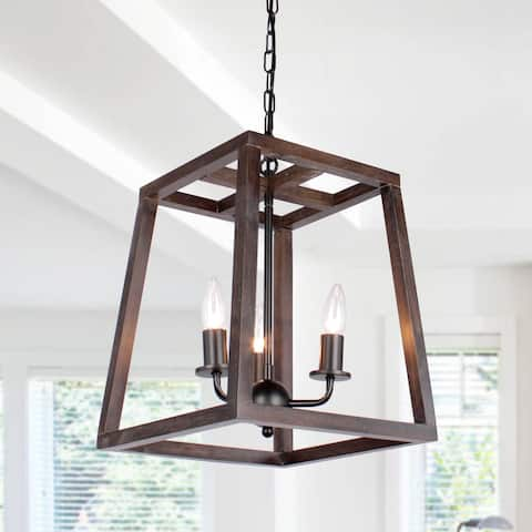 Modern 3-Light Wood Kitchen Island Chandelier Light - N/A