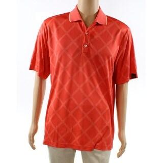 Greg Norman NEW Coral Orange Mens Size Small S Diamond-Print Polo Shirt