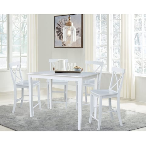 "30"" x 30"" Counterheight Dining Table with 4 X-Back Stools - 5 Piece Set"