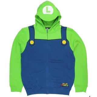 Nintendo Luigi Bill Men's Green Zip-Up Costume Hoodie