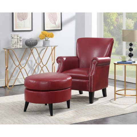 Gracewood Hollow Omar Traditional Upholstered Nailhead Accent Chair