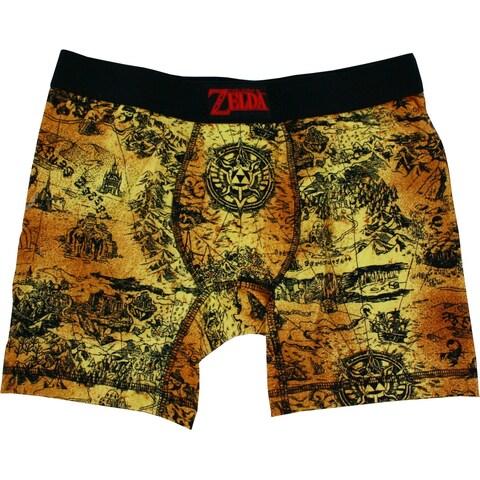 Legend of Zelda Ancient Land Map Men's Gold Boxers