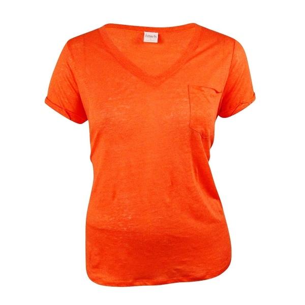 Inc International Concepts Womens V Neck Linen Knit Tee Dark