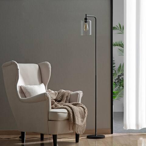 Zenvida Floor Lamp Modern Industrial Metal Base Hanging Glass Shade Standing Reading Light Edison Bulb
