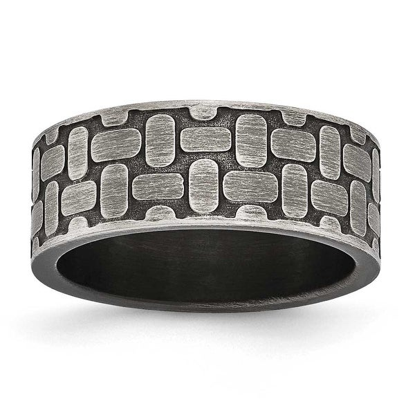 Stainless Steel Brushed Antiqued Textured Ring (8 mm) - Sizes 7 - 13
