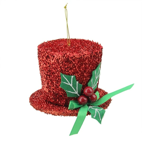 "4"" Dazzling Red Mini Carolers Top Hat with Holly Berries Christmas Ornament"