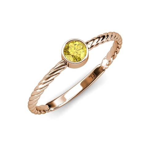 TriJewels Created Yellow Sapphire 1/2 ct Solitaire Promise Ring 14K Gold