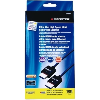 Monster JHIU0011 Just Hook It Up Ultra Slim High Speed HDMI Cable, 10'