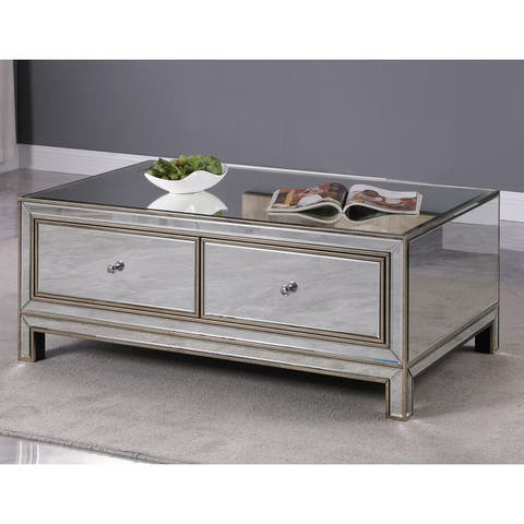 Best Master Furniture Silver Mirrored Metallic Gold Coffee Table