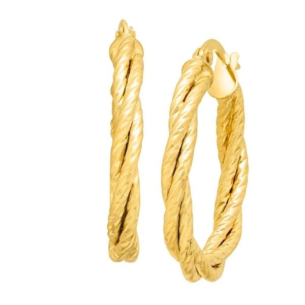Just Gold Double Twist Oval Hoop Earrings in 14K Gold - YELLOW