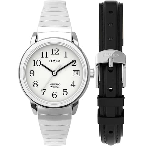 Timex Women's Easy Reader 25mm Watch Box Set - Silver-Tone/White/Black Expansion & Leather Strap - One Size