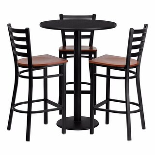 Offex 30'' Round Black Laminate Table Set with Ladder Back Metal Bar Stool and Cherry Wood Seat